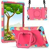 KATUMO Funda para niños Compatible con Samsung Galaxy Tab A7 10.4 2020 (T500 / T505 / T507), Funda para Galaxy Tab A7, (Soporte Giratorio de 360 ° y Correa) Funda Protectora,Camuflaje Rosa Roja