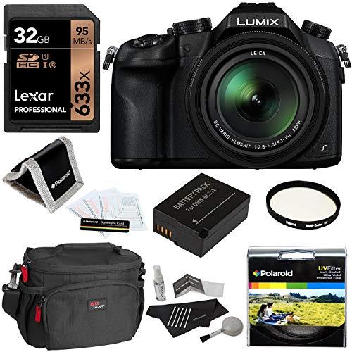 Panasonic Lumix DMC-FZ1000 4K QFHD/HD 16X Long Zoom Digital Camera (Black) + Lexar 32GB+ Battery + Polaroid 62mm UV Filter + Camera Bag + Cleaning Kit + Screen Protector + Wallet