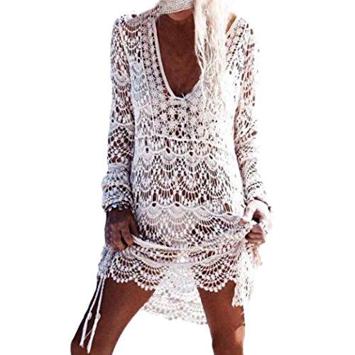 Homebaby - Copricostume Mare Donna Pizzo Camicia - Copribikini in Cotone sui Costume da Bagno Sexy - Kimono Vestito Lungo Estate Boho Hippie Kaftan Tunica Etnica Abito da Spiaggia (Libero, Bianco)