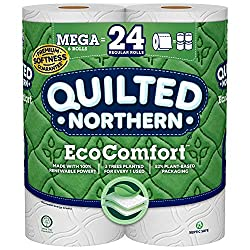 Quilted Northern Eco Comfort Toilet Paper, 6 Mega Rolls, 6= 24 Regular Rolls