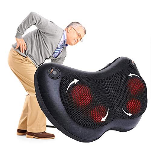Almohada de masaje, tejido de cuello de shiatsu Tejido profundo con calor, tejido profundo Moldeladores de amasamiento para cuello y espalda: hogar, oficina, almohadilla de asiento, coche