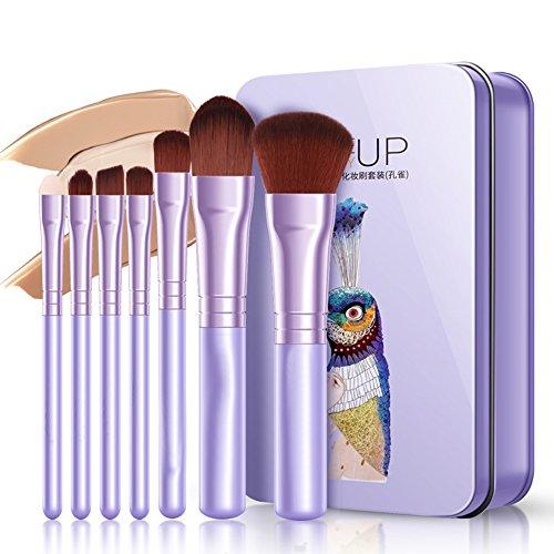 Demarkt 7 Pcs Pinceau de Maquillage Ensemble Doux et Lisse beauté poignée en Plastique beauté Outils de beauté(Violet) 20 * 10cm