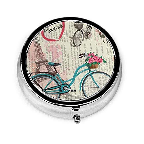 Pastillero portátil pequeño, organizador redondo de píldoras de la Torre Eiffel para bicicleta, 3 ranuras, único estuche de medicina para bolsillo o monedero