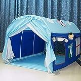 HB.YE Tente de Jeu Jardin Jeu Maison sur Lit Démontable pour Enfant Fille Garçon - Bleu Maison