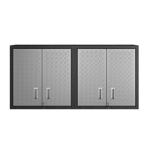 Manhattan Comfort Fortress Collection Modern Designed 2 Piece Set Floating Storage Garage Cabinet Great For Tools and Supplies, 2 Pc Set, Stainless Steel