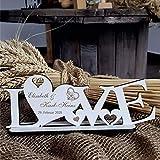 DEKO AUFSTELLER mit Herzen LOVE inkl. Personalisierung - Größe ca. 20 x 8 cm