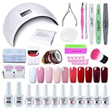 Elite99 Smalto Semipermanente per unghie Kit di Partenza in 10 coloris Gel 24 W LED Lampada UV Nail Dryer Soak Off Topcoat Basecoat Nail Art Tool Set di Adesivi per Manicure Set per Manicure 8ML C015