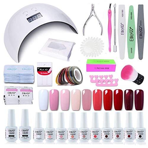 Elite99 Smalto Semipermanente per unghie Kit di Partenza in 10 coloris Gel 24 W LED Lampada UV Nail Dryer Soak Off Topcoat Basecoat Nail Art Tool Set di Adesivi per Manicure Set per Manicure 8ML C015