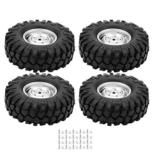 Dilwe 4 Stück RC Auto Reifen Gummirad Reifen mit Naben für 1/10 Skala RC Crawler Off-Road Truck Auto