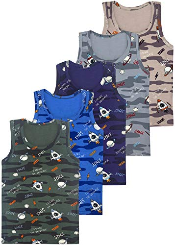 LOREZA  5 Camisetas de niño Camiseta de algodón - básico (128-134 (8-9 años), Modelo 2-5-Pack)