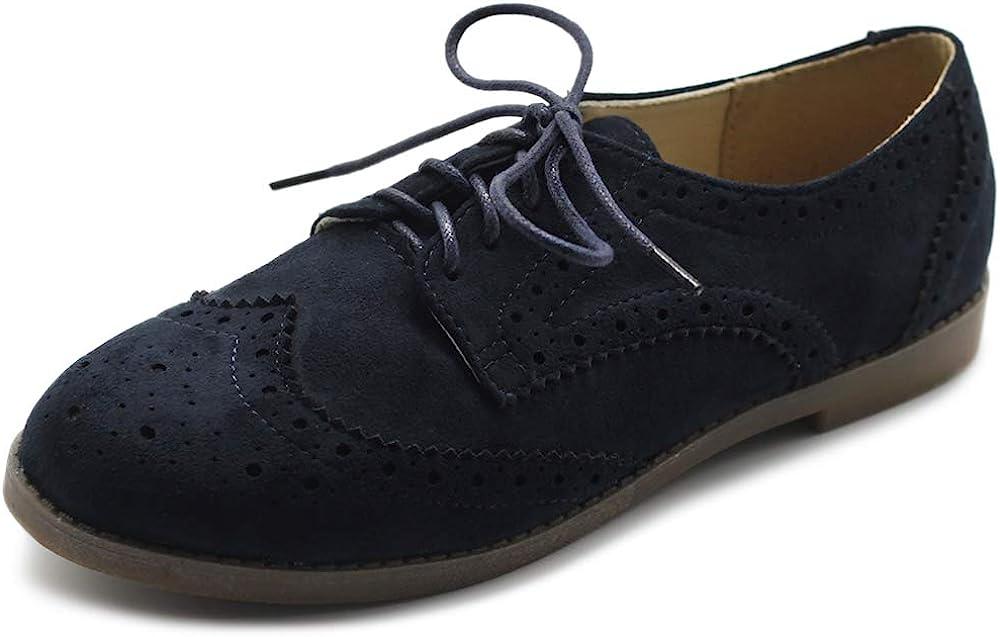 Overseas parallel import regular item Ollio 1 year warranty Women's Flat Shoe Wingtip Nubuck Oxford Lace Faux Up