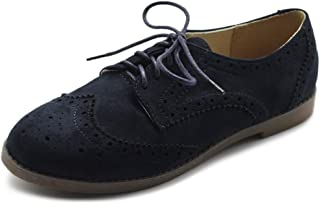 Women's Flat Shoe Wingtip Lace Up Faux Nubuck Oxford