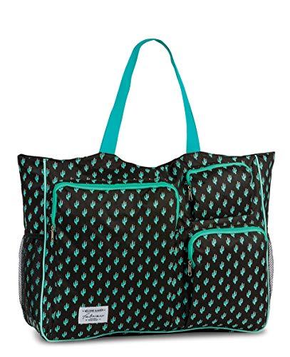Fabrizio Strandtasche groß XXL viele Taschen Urlaubstasche Freizeittasche Sommer mit Reißverschluss (Schwarz/Grün)