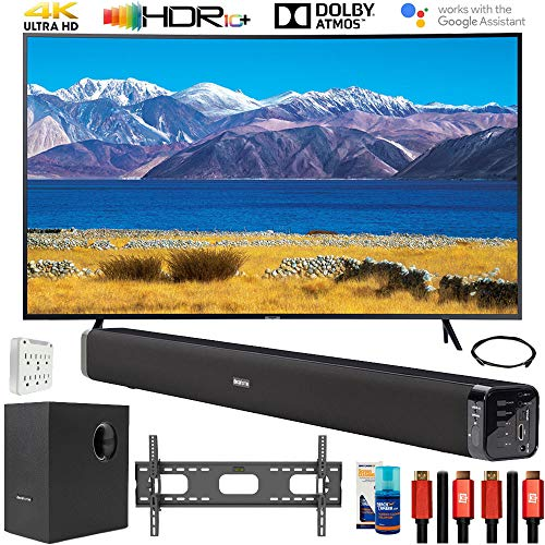 """SAMSUNG UN65TU8300 65"""" HDR 4K UHD Smart Curved TV (2020 Model) Bundle with Deco Gear Home Theater Soundbar with Subwoofer and Complete Wall Mount Setup and Accessory Kit"""