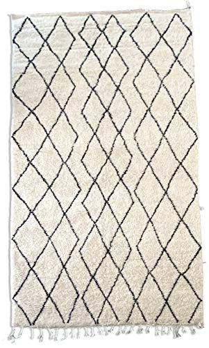 Poufs&Pillows Alfombra bereber Original de Lana - Tejida a Mano - 2,5x1,5 m - Alfombra marroquí Crema, para Interior clásico, contemporáneo y Moderno, Alfombra Tribal Oriental, Anudado a Mano