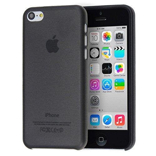 doupi UltraSlim Custodia per iPhone 5C, Satinato fine Piuma Facile Mat Semi Trasparente Cover, Nero