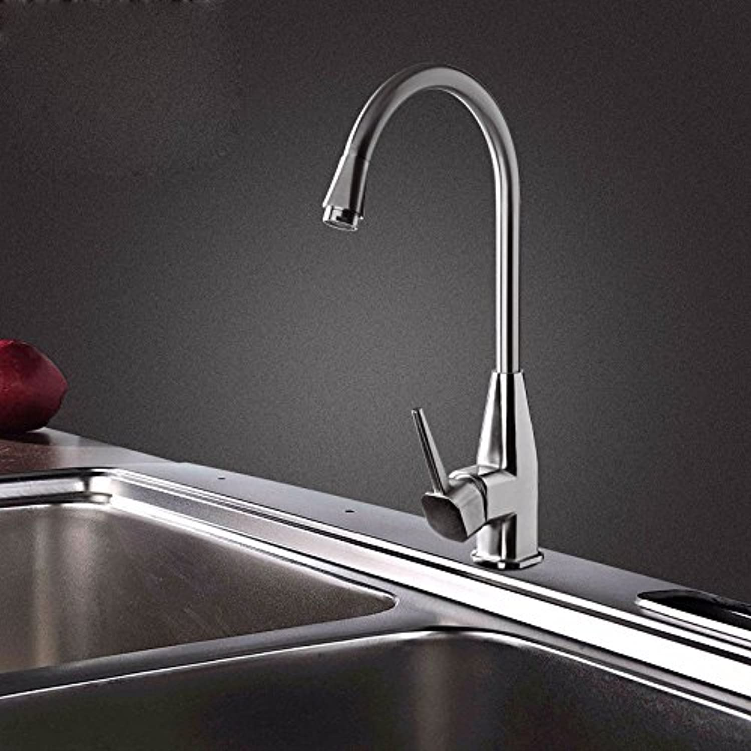 KHSKX-Stainless Steel Elbow Kitchen Tap Water Lead-Free Hot And Cold Shower Swivel Adjustable Warm Tower Cuisine Basin Faucet