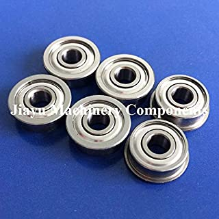 Fevas 50 PCS SFR3ZZ Flanged Bearings 3/16 x 1/2 x 0.196 inch Stainless Steel Flange Ball Bearings DDRF-3ZZ