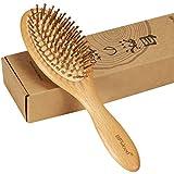 BFWood ヘアブラシ パドルブラシ 木製 丸い竹ピン 頭皮&肩&顔マッサージ 静電気防止 抜け毛対策 薄毛改善 血行促進 ヘアケア 美髪ケア