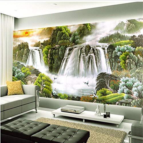 Dalxsh Gepersonaliseerde Aangepaste Sofa Tv Achtergrond Muur Landschap Behang Naadloze Doek De Rode Zon stijgt in de lucht. Shui 3D 350 x 250 cm.