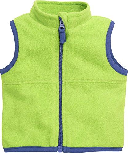 Schnizler Schnizler Baby Fleece-Weste, ärmellose Unisex-Jacke für Mädchen und Jungen mit Reißverschluss und Kontrastnähten, Grün (Grün 29), 62