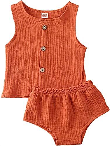 Bebé 2 Piezas Traje Verano Conjunto de Ropa Casual Chaleco de Cuello Redondo Pantalones Cortos Set Top Camiseta y Braguita para Recién Nacido (Naranja, 6-12 Meses)