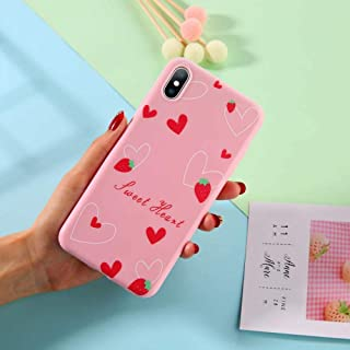 GUYISJK Cover Iphone,Strawberry Fashion Beautiful Pink Back Cover Pattern For Iphone 6 6S 6Plus 7 7Plus 8 8Plus X Xs Xr Xs Maxsoft Tpu Silicone Back Cover,For Iphone X/Xs