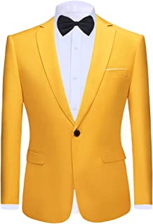 Allthemen Mens Casual Blazer Slim Fit Formal Business Suit Jackets with Bow Tie One Button Single Breasted Tuxedo Jacket S...