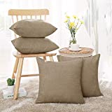 Deconovo Cushion Covers Khaki Corduroy Pillow Covers Striped Both Side Decorative 18 x 18 Inch Cushion Cover Toss Pillow Case Decorative Pillow Covers for Couch Khaki Set of 4 No Pillow Insert