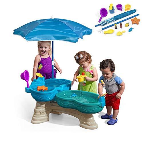 De Kinderen Spelen in Het Water Spelen Met Zand Speelgoed Tafels Overdekt Zwembad Tafels Dubbel, 2 in 1 Speelgoed Strand Met Parasols, Een Speeltuin Tijd