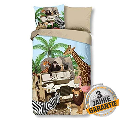 Aminata Kids süße Wende-Bettwäsche-Set Dschungel-Tiere 135 x 200 cm + 80 x 80 cm Jungen & Mädchen, Baumwolle mit Reißverschluss, Kinder-Bettwäsche mit Safari-Motiv, Afrika, Wilde-Zoo-Tiere, beige