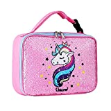 Sequin Lunch Box, Reversible Sequin Flip Color Change, Insulated, Quick and Simple Organization, Perfect for Working Women or Kids (Pink)