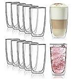 Doppelwandiges Trinkglas 450ml Wasserglas Borosilikat-Glas doppelwandig Latte Macchiato Longdrink- und Cocktailgläser von Dimono® (12 Stück)