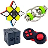 NANAHouse Fidget Toy Set Includes Infinity Cube,Fidget Pad Cube,Flippy Chain,Spinner Cube,Handheld Fidget Toys for Adults Kids ADHD ADD Anxiety Autism,Stress and Anxiety Relief