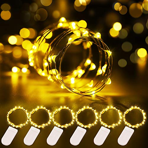 Govee 6 Pack Warm White Fairy String Lights Battery Operated, 3.3ft with 20 LEDs Waterproof Flexible Copper Wire Light for Christmas DIY Decoration Costume Bedroom Patio Parties Wedding Festivals