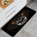 HATESAH Kitchen Rug,Angry Werewolf face in Darkness Digital Painting,Anti Fatigue Kitchen Rugs Non-Slip Oil Stain Resistant Floor Mats Home Mat