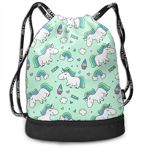 Drawstring Bag Backpack Sackpack Lightweight Cinch Bags for Christmas Halloween, Daypack for Hiking Yoga Gym Travel Beach Swimming, Unicorn And Rainbow Green