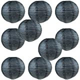 WYZworks Round Paper Lanterns 10 Pack (Black, 16') - with 8', 10', 12', 14', 16' Option