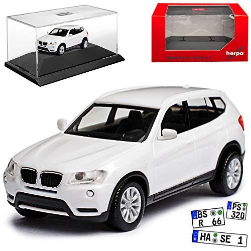 B-M-W X3 F25 Weiss SUV 2. Generation 2010-2017 Kit Bausatz mit Sockel und Vitrine H0 1/87 Herpa Modell Auto mit individiuellem Wunschkennzeichen