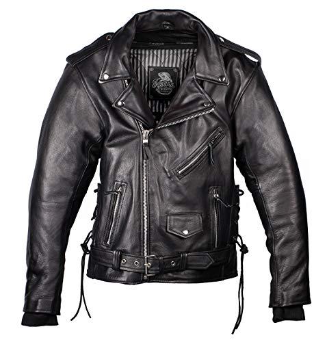 IGUANA CUSTOM - Chaqueta de moto de piel para hombre de estilo rockero CRUZADA de cuero de primera calidad, con protecciones y forro térmico desmontable. (M)