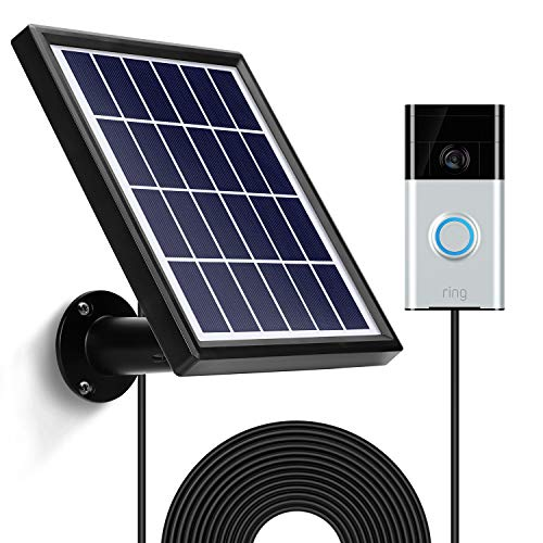 OLAIKE Solar Panel with 3.8m/12ft Power Cable for All-new Video Doorbell 2020 Release 2nd Gen,Includes Detachable Flexiable Wall Mount,Waterproof Charge Continuously(Camera not included),Square-Black