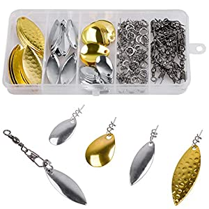 Fishing Spoons Blades DIY Spinner Lures Kit Fishing Spoon Rig Lure Making Kit, Colorado Blades Fishing Spinnerbait DIY Spoon Rig Spinner Set, 155Pcs Spinner Access Box for Bass Walleye Pike