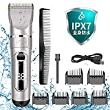 電動バリカン ヘアーカッター IPX7防水 ヘアクリッパー 充電式 5段階調節可能 アタッチメント付きで 散髪用 ショートヘア用 子供用 家庭用 取り外し可 水洗い可 プロ仕様