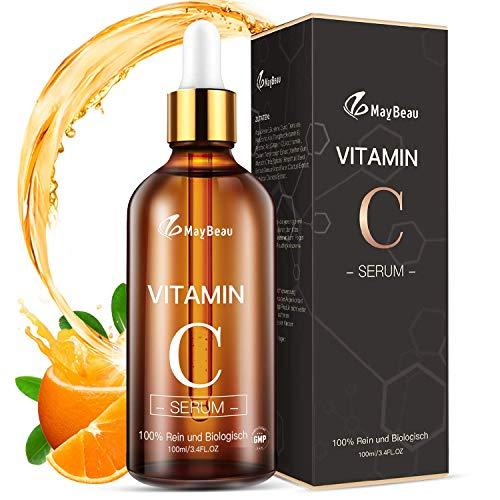 MayBeau 100ml Vitamin C Serum für Gesicht und Haut Anti Falten Anti Pickelmale dunkle Kreise Feuchtigkeitspflege AntiAging Vegan Hyaluronsäure + Vitamin A + Vitamin C + Vitamin E Gesichtsserum