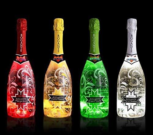 Rogante Promo Party 4 x 0,75L Bottiglie Spumanti Fruttati Illuminati Premium - bottiglie illuminate