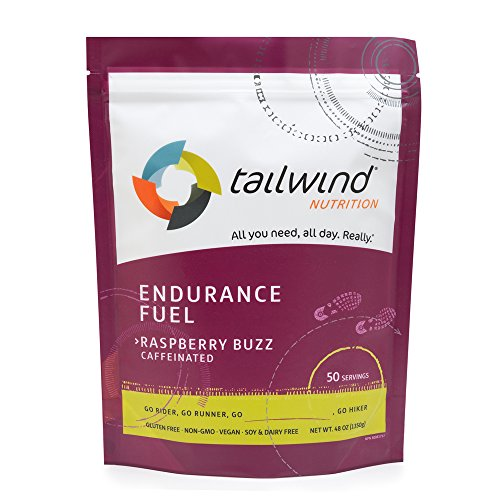 Tailwind Nutrition Caffeinated Raspberry Buzz Endurance Fuel 50 Serving - Hydration Drink Mix with Electrolytes, Carbohydrates - Non-GMO, Gluten-Free, Vegan, No Soy or Dairy