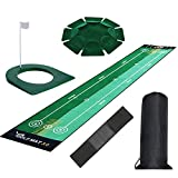 Tresbro Golf Putting Mats with Plastic Golf Putting Cup and All-Direction Putter Cup and Training Aid Arm Band, Bidirectional Golf Practice Mats for Indoor Outdoor Office Yard【Clearance Products】