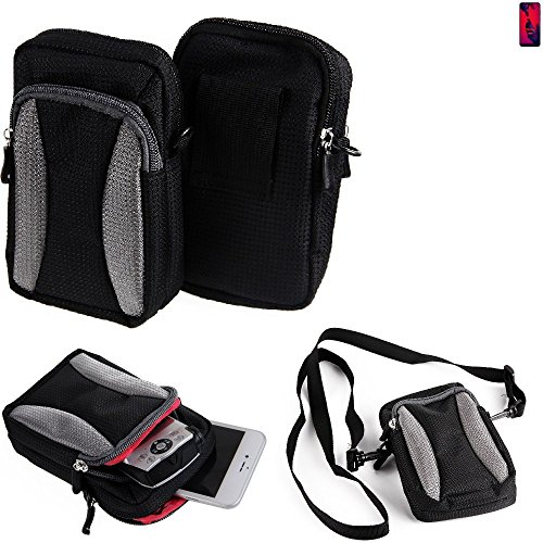 K-S-Trade Für Huawei P20 Pro Dual-SIM Gürteltasche Umhängetasche Für Huawei P20 Pro Dual-SIM schwarz-grau + Extrafach mit Platz für Powerbank, Festplatte etc. | Case travelbag Brustbeutel Brus