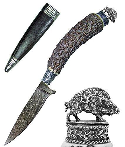 Funk Hirschhorn Trachtenmesser mit Damastklinge und Zierfigur - Wildschwein