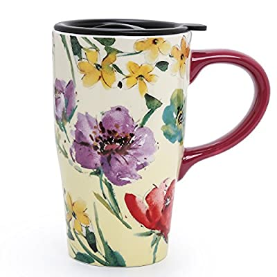 Colorful Flowers Ceramic Coffee Travel Mug